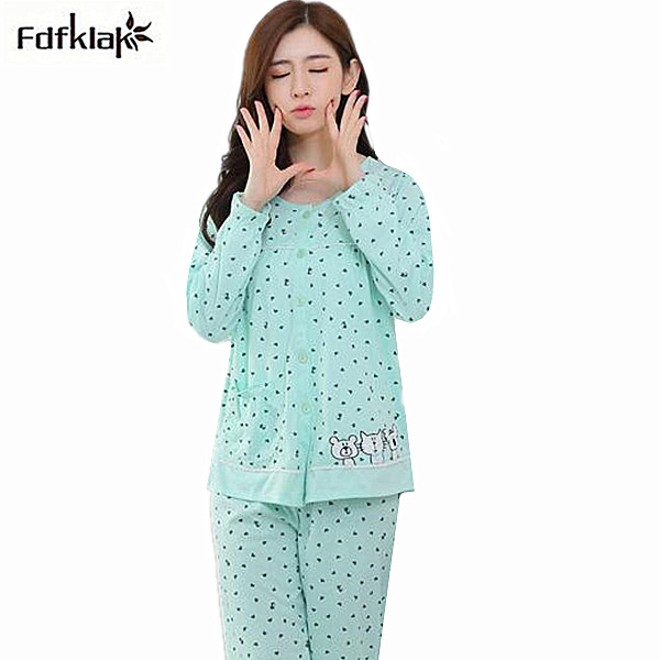 c06127a8c4aa Women s pajamas set long sleeve cute cartoon pajama autumn winter plus size pyjamas  women cotton sleepwear pijama suit M-3XL
