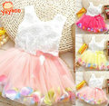2016 New Casual Flower Girl Dress Girls Summer Dresses Sleeveless Dress For Girls Children's Dress Kids Clothes Ball Gown 3T-8T