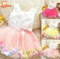 2016 nova Casual vestido da menina flor meninas vestidos de verão vestido sem mangas para meninas de vestido infantil de roupa dos miúdos vestido de baile 3 T - 8 T