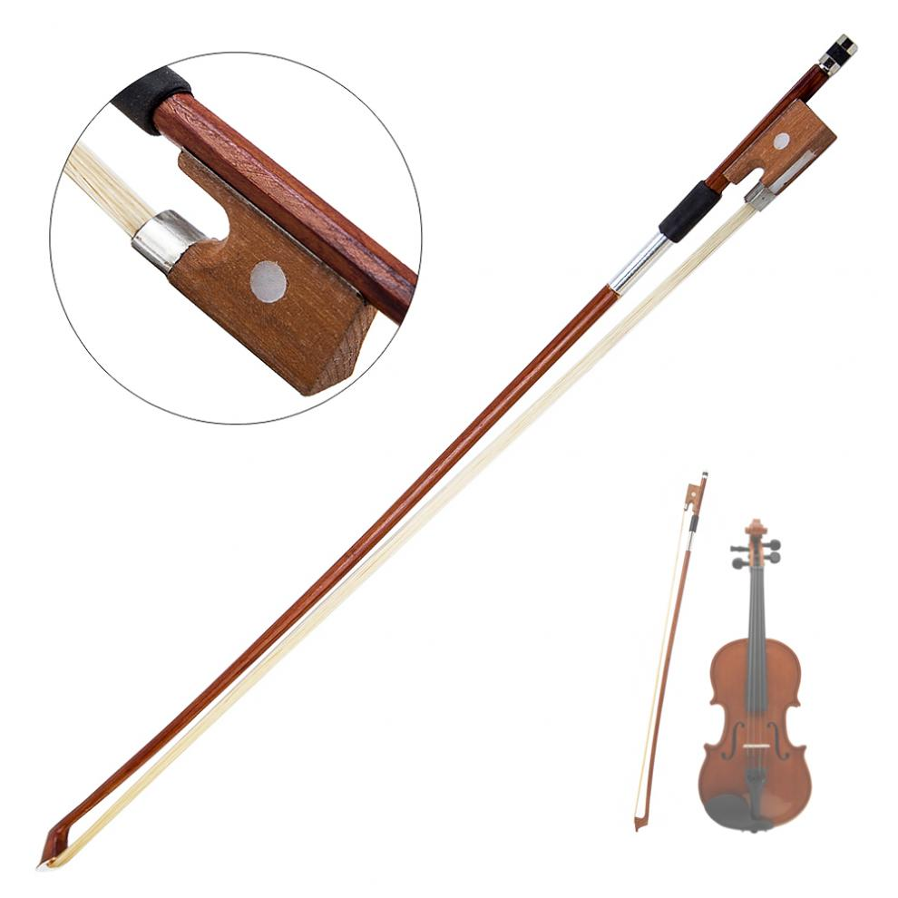 4/4 Size Violin Bow Horsehair Wood Stick Plastic Handle Fiddle Bow Violin Musical Instruments Parts Accessories