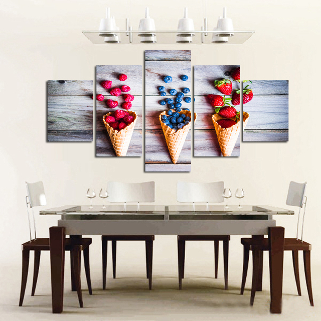 5 Piece Canvas Art Wall Pictures For Kitchen Room Modern Decorative Wall Art  Modular Canvas Painting