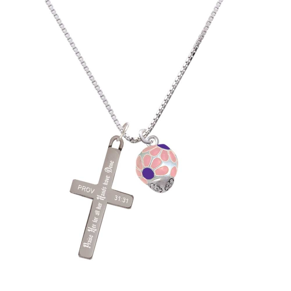 купить Translucent Pink Flower Petal Pattern Spinner - Praise Her - Cross Necklace по цене 3496 рублей