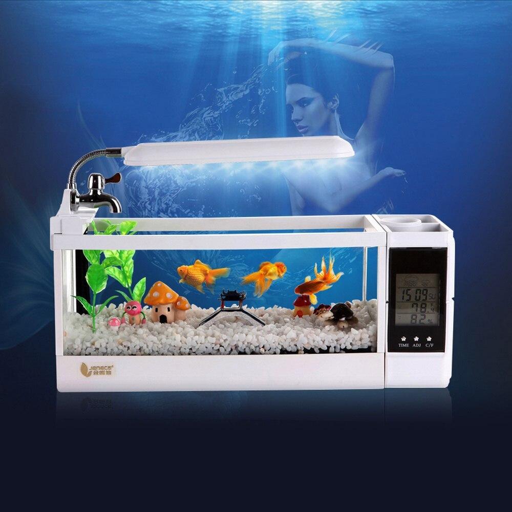 Mini Aquarium Betta LED pour Aquarium éclairage Aquarium avec écran d'affichage LCD porte-stylo et horloge Mini Aquarium Pecera