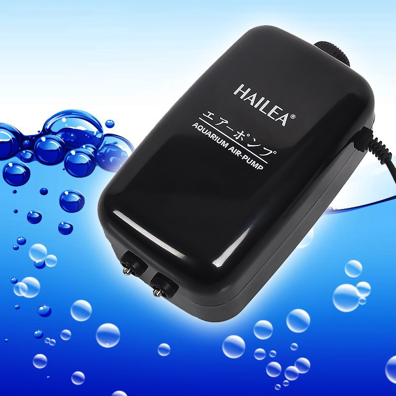 5 5L Min HAILEA ACO 5505 Low Noise 2 Outlet Aquarium Air Pump For Fish Tank
