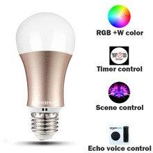 Pode ser escurecido E27 Wi-fi RGB Lâmpada Led Controle de Voz por Alexa Eco 2.4G Controle de APP WfiFi Cor Branca disponível