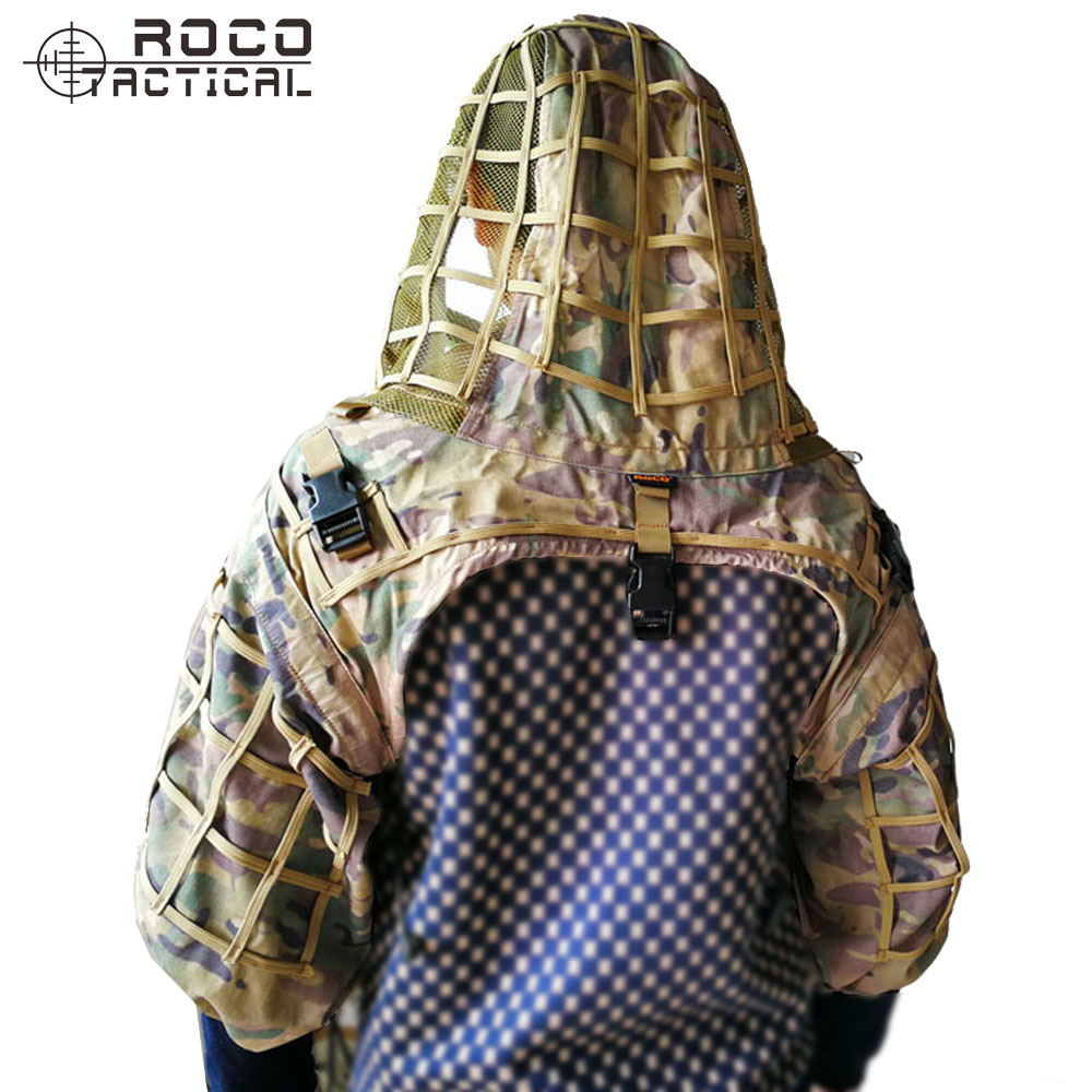 ROCOTACTICAL Army Sniper Coat Viper Hood Tactical Combat Sniper Suit Ghillie Suit Hood for Airsoft Paintball CP Multicam airsoft adults cs field game skeleton warrior skull paintball mask