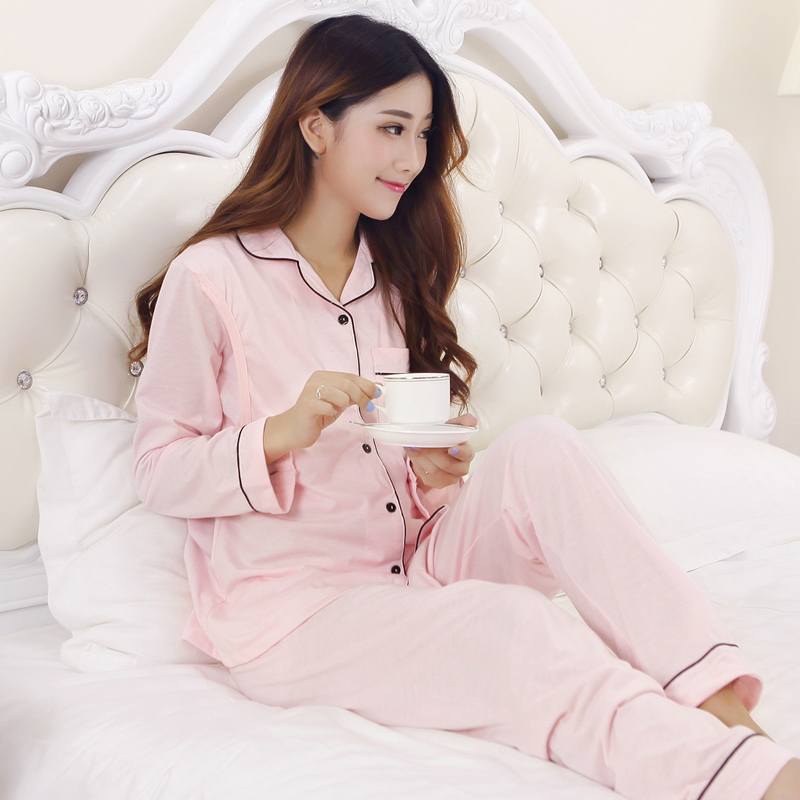 Nightgown 100% Cotton Maternity Nursing Pajamas Tops+Pant Long Sleeve Solid Pajamas Set Maternity Sleepwear for Pregnant Nursing