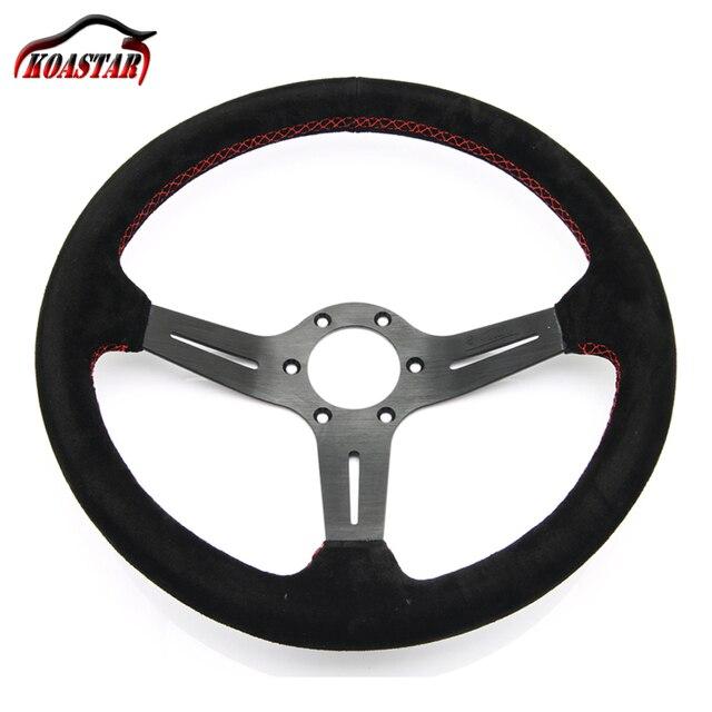 "leather steering wheel 14"" inch 350mm aluminum steering wheels deep corn Black spoke red Stitching Italy"