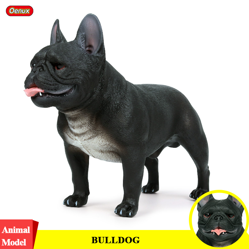 Oenux Cute French Black Bulldog Simulation Animals Big Size Pet Dog Action Figures Model PVC High Quality Collection Kids Toy