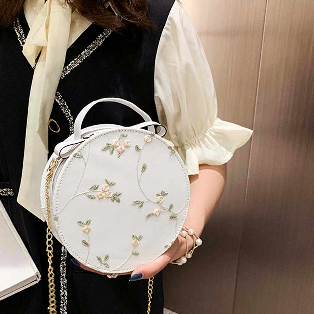 Women's Fashion Lace Fresh Handbag Crossbody Bag Solid Color Small Round Bag Shoulder Crossbody Bag Card Holder Coin Purse