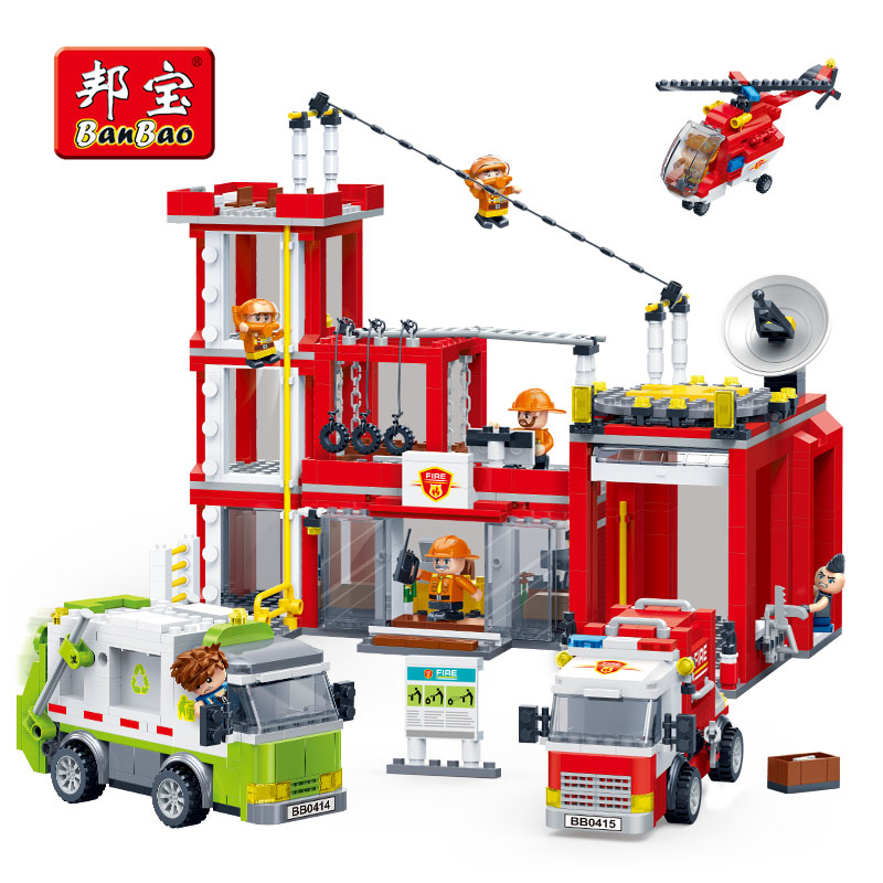 BanBao Fire Station Fighting Truck Helicopter Bricks Educational Building Blocks Toy Model 7120 Children Kids Friend Gift