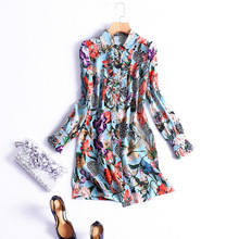 European style spring floral print long shirts 2017 fashion woman's full sleeve printing blouse S-XL size
