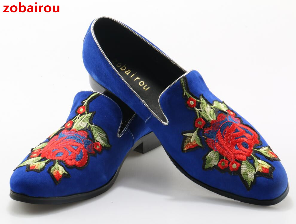 Zobairou New Spring Floral Embroidered Suede Men Shoes Blue Leather Flats Casual Slip On Moccasins Men Loafers Driving Shoes zplover fashion men shoes casual spring autumn men driving shoes loafers leather boat shoes men breathable casual flats loafers