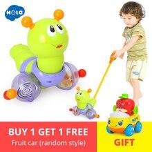 Купить с кэшбэком Baby Toys Push & Pull Baby Walks Toys Worm Horizontal Slide Infant Early Development Single Rod Hand Pushed Toy HUILE TOYS 686