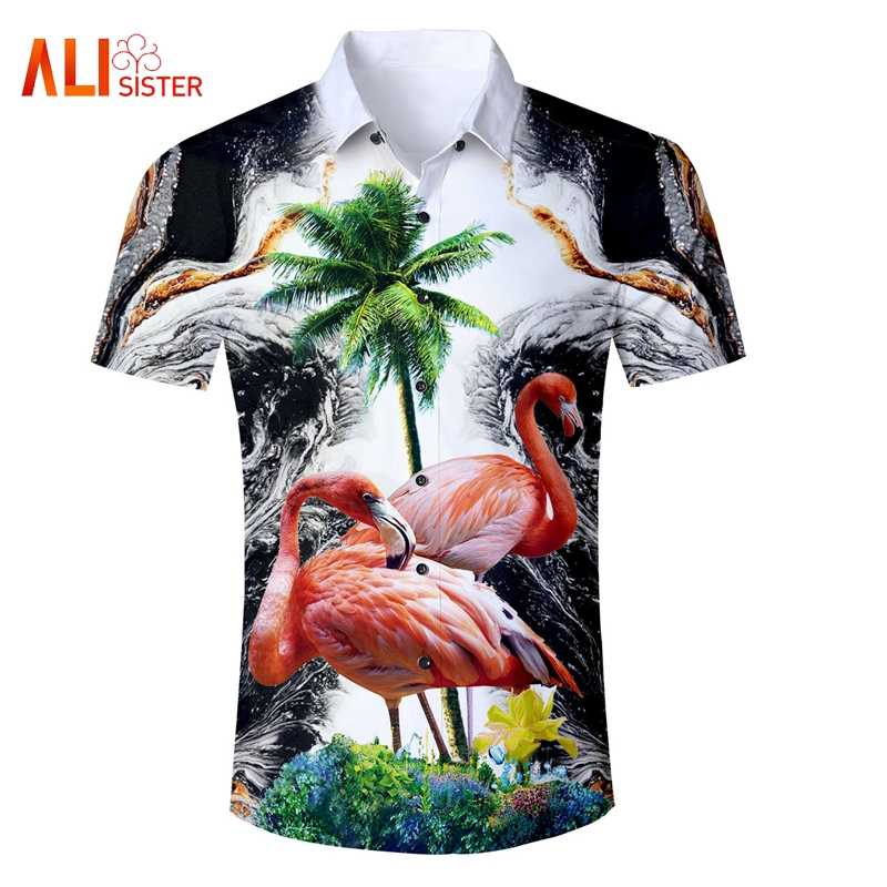 a554a7c440 Men's Short Sleeve Hawaiian Shirts Chemise Flamingos Coconut Tree Shirts  Palm Tree Sunset 3d Print Casual