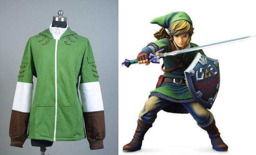 Link Cosplay Hoodies Green Witch Pointy Hat Hooded The Legend of Zelda Jacket Man Winter Daily Coat Halloween Cosplay Costumes