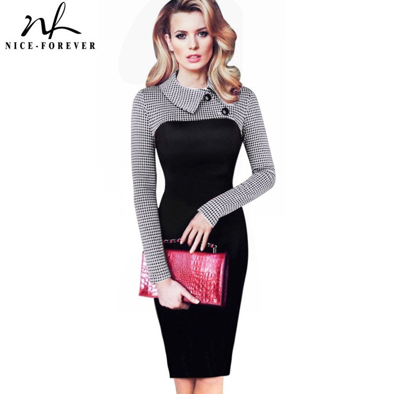 Nice-forever Elegant Vintage Fitted musim dingin gaun penuh Lengan Patchwork Turn-down Collar Tombol Bisnis Sheath Pencil Dress b238