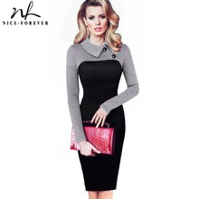 Nice forever Elegant Vintage Fitted winter dress full Sleeve Patchwork Turn down Collar Button Business Sheath Pencil Dress b238