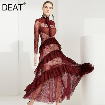 DEAT 2020 new summer and autumn fashion women clothes stand collar lace hollow out wine red sexy dress female vestido WH34403XL