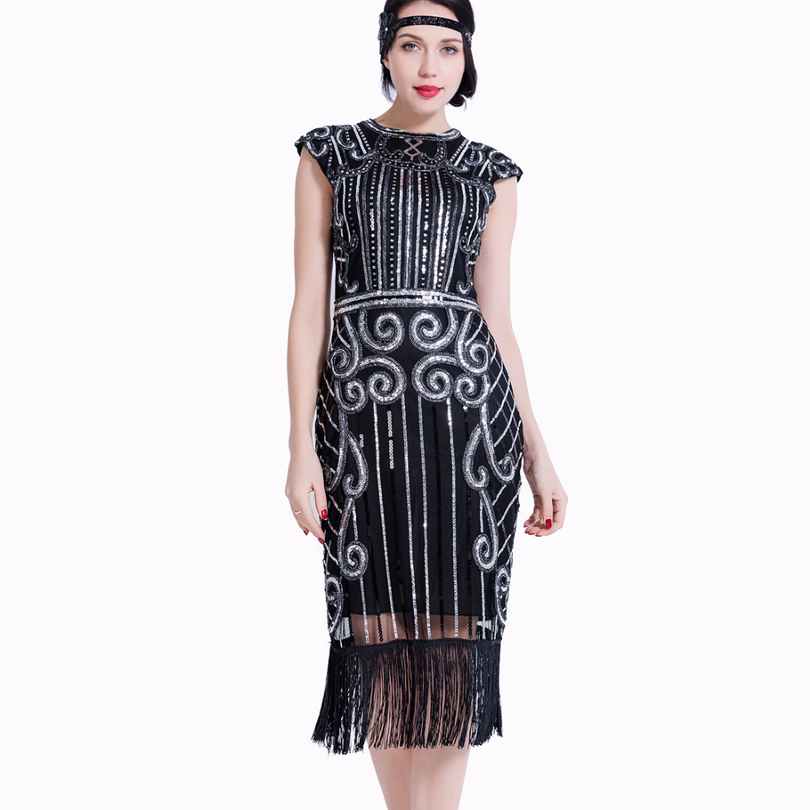 54bf3858 1920s Women Flapper Dress Sequin Beaded Art Deco Gatsby Party Vintage Fringe  Fancy Dress Cocktail Costume