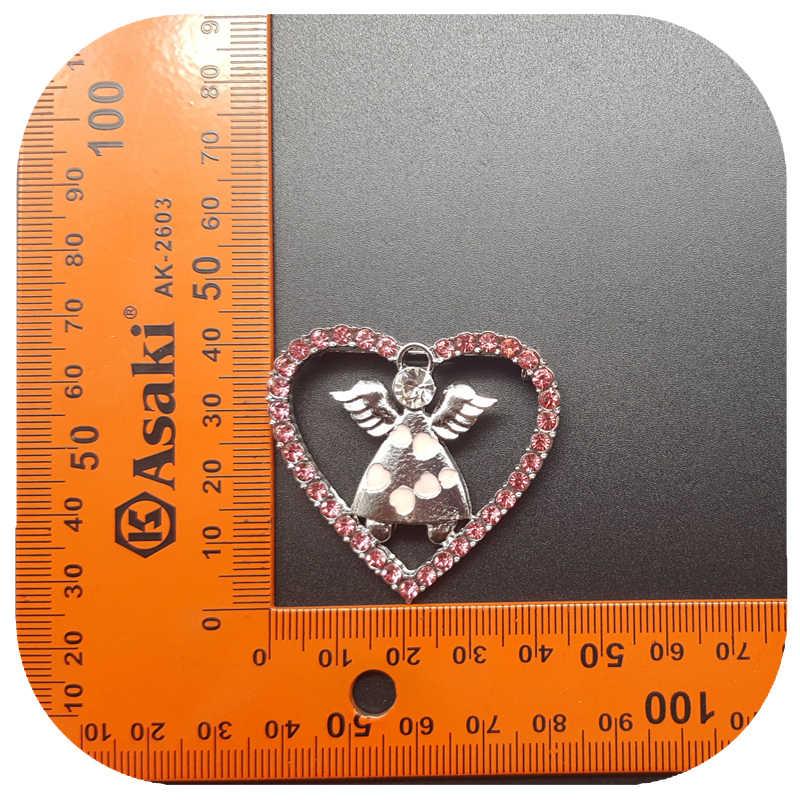 Panas Hadiah Yang Unik! Berwarna Merah Muda Berlian Imitasi Bros Jantung Pin dengan Lucu Malaikat Di Dalam