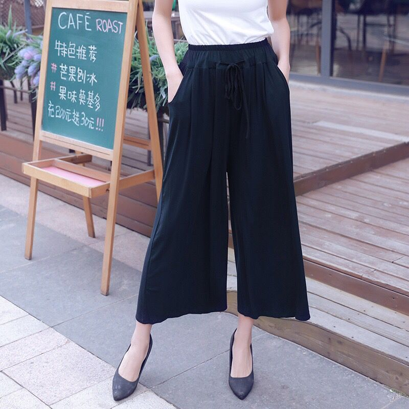 #0645 Women Casual Loose   Wide     Leg     Pant   Womens Elegant Fashion Korean Style Modal Trousers Female Solid Color Ankle-length   Pants