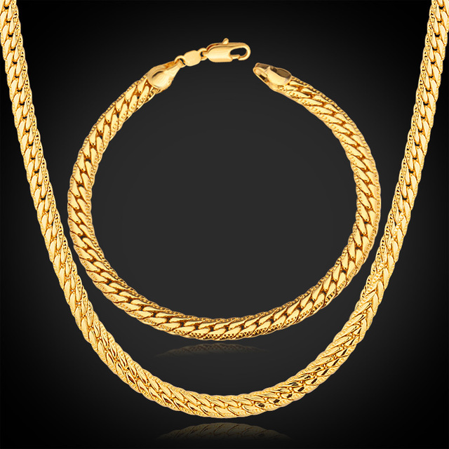 Jewelry Sets Gold Chain Necklace Bracelet Men New Trendy