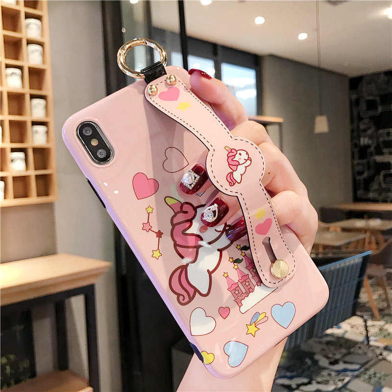 Чехол с мультяшным ремешком на запястье для телефона iphone 8plus xs max 8 6 s 7 plus xr для девочек, шейный шарф, шнурок для ключей, кольцо на палец, чехол