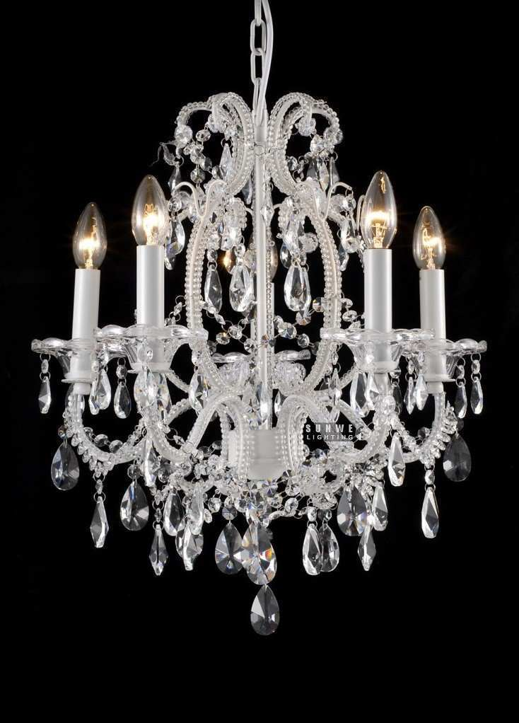 White Shabby Chic Chandelier S Room Crystal Drops E9081 51cm W X 53cm H In Chandeliers From Lights Lighting On Aliexpress