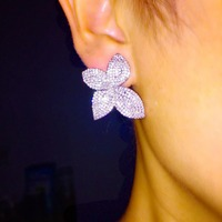 Stunning Design Unique Zirconia Pave Setting 4 Leaf Flower Shaped Stud Earrings For Women And Girl