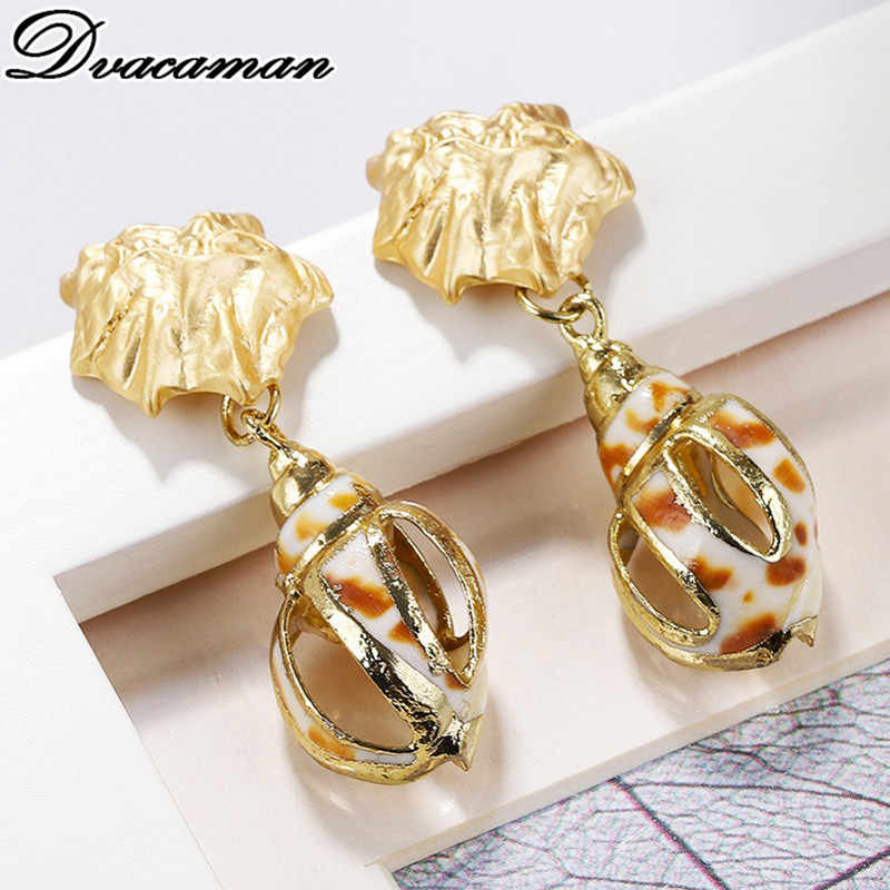 Dvacaman Fashion Real Natural Pearl Drop Earrings for Women Vintage Shell Metal Statement Earrings Wedding Party Gifts Jewelry
