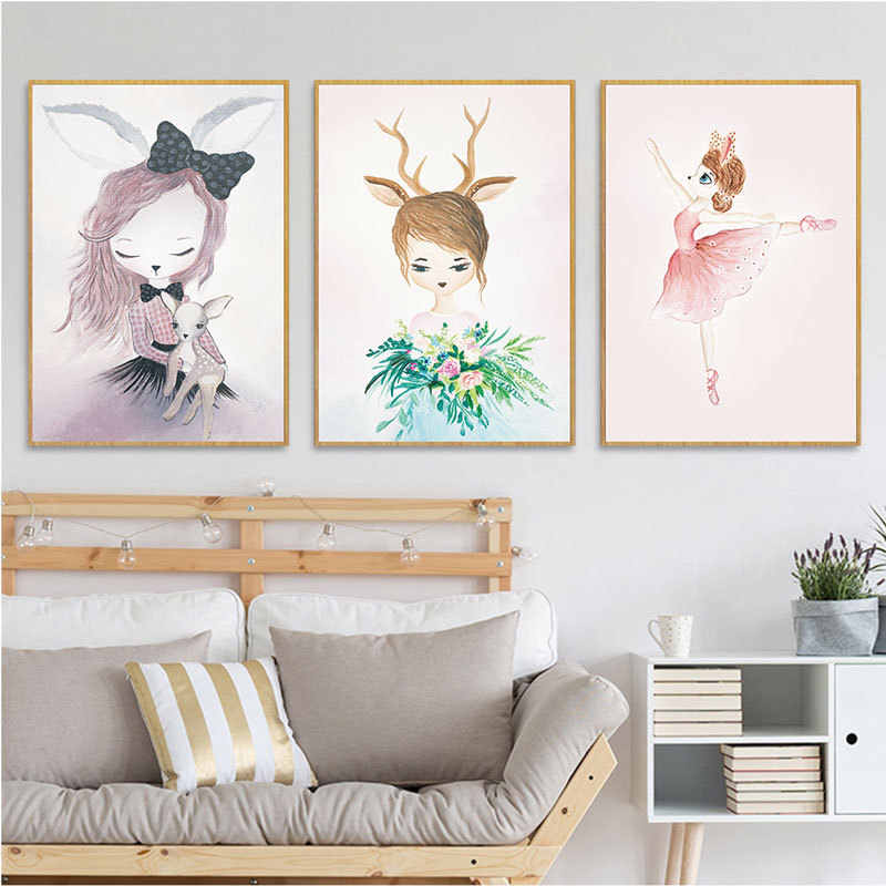 1PC High Quality Children Baby Room Girls Poster Wall Picture Cartoon Wall Art Painting No Frame Kids Canvas Modern Print Rabbit