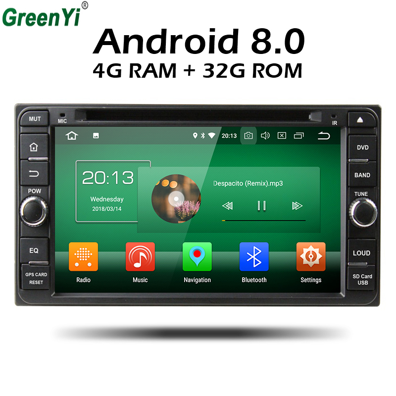 GreenYi Android 8.0 8 Core 4G RAM Car DVD For Toyota RAV4 Corolla Vios Fortuner Prado Terios Hilux Universal Radio GPS Player купить в Москве 2019