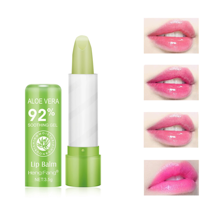 1pc 3.5g Color Changing Tinted Lip Balm Women's Fashion Lipstick Aloe Vera Lipstick Moisturizing Long Lasting Lipstick Maquiagem image