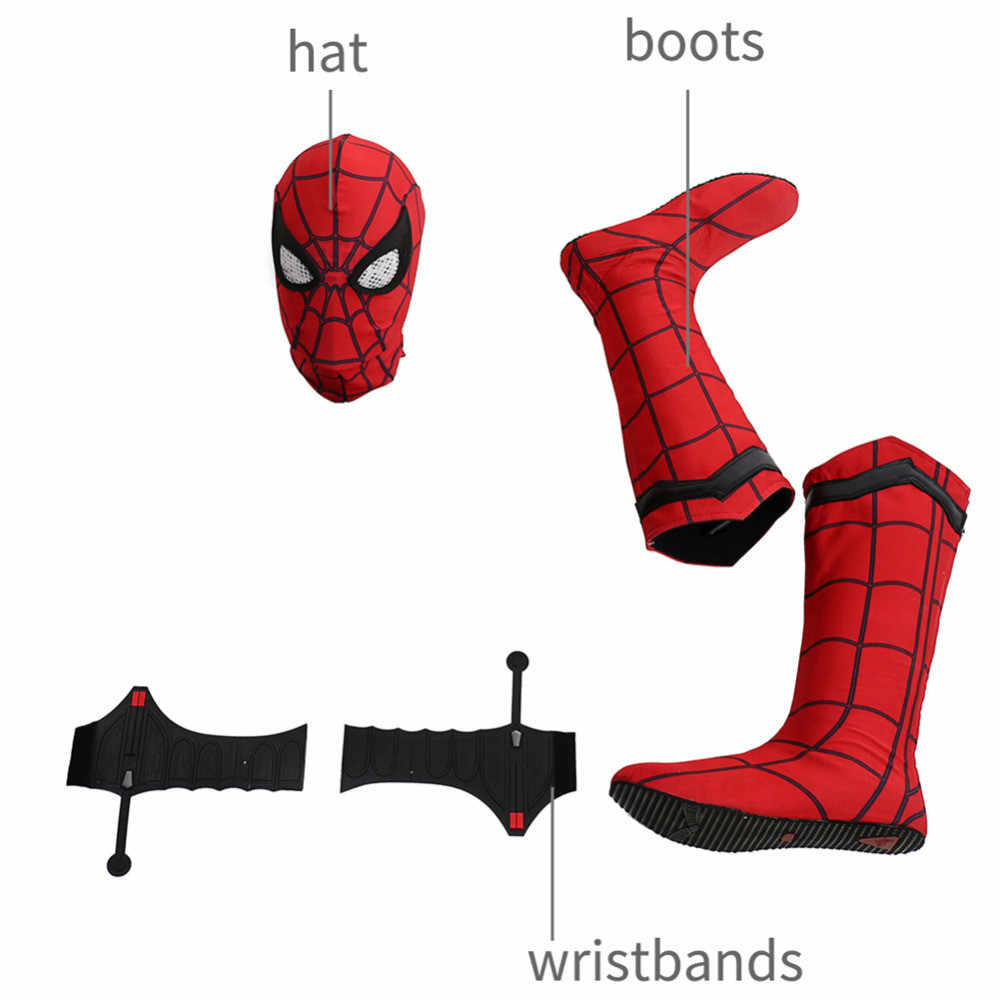 Super-héros Spider-Man bottes Web Shooter Latex Spiderman masque chaussures Cosplay Costume pour Halloween accessoires accessoires