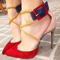 2017 Летом Натуральная Кожа Лодыжки Ремень Сексуальные Высокие каблуки Острым Носом женщины насосы Дамы Свадебная обувь