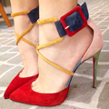 2017 Summer Genuine Leather Ankle Strap Sexy High heels Pointed Toe women pumps Ladies Wedding shoes