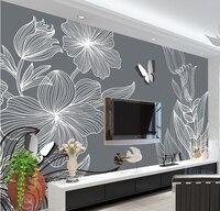 Personnalisé 3D grande fresque, dessinés À La Main fleurs papillon moderne simple mur de fond, salon canapé TV mur chambre mur papier
