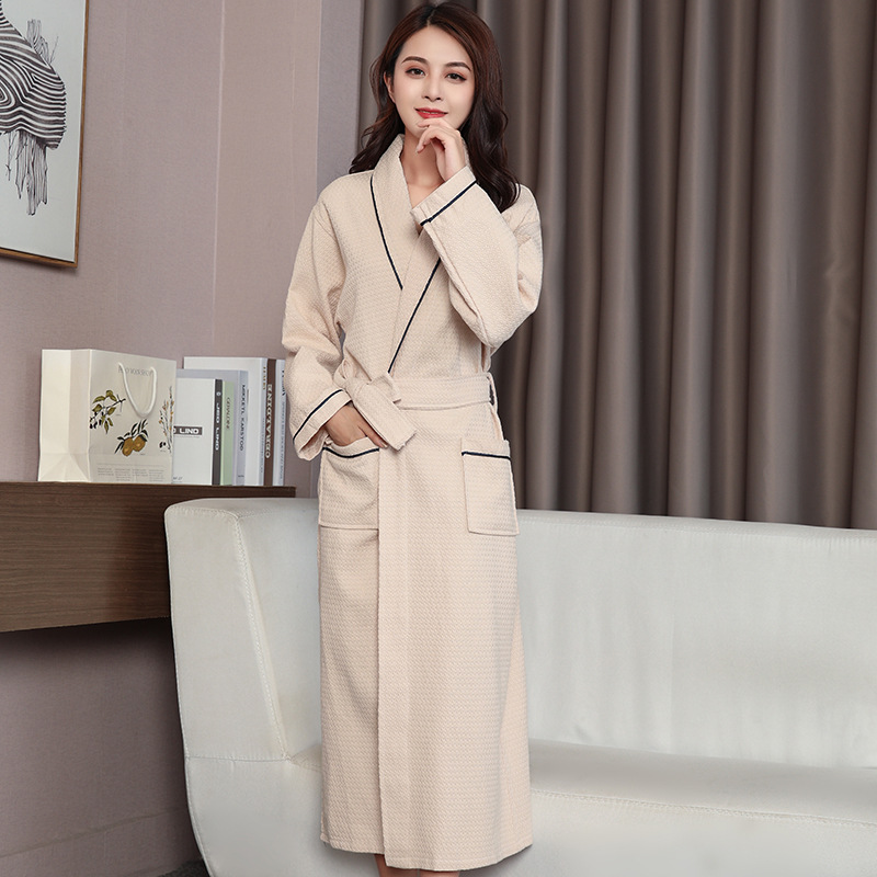 Autumn Cotton waffle bathrobe solid night sleepwear home robe for women couple SPA robes bride robes wedding