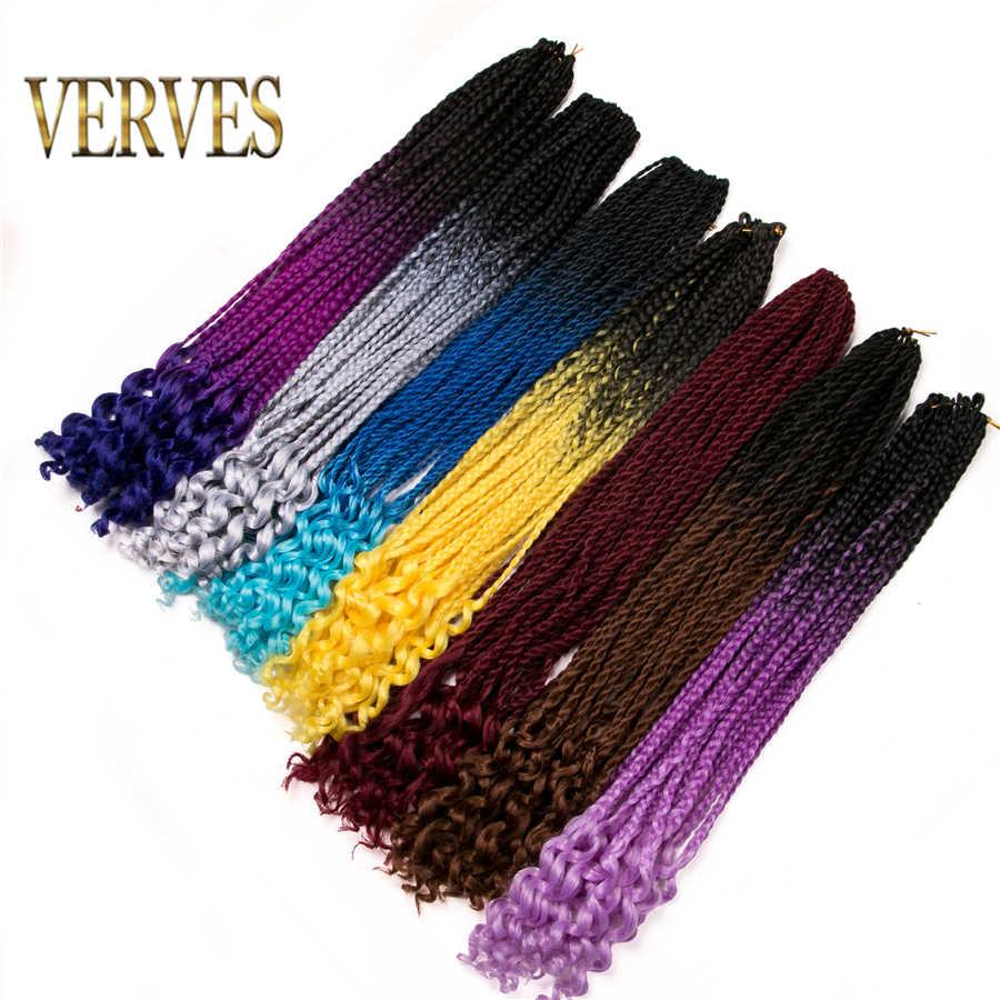 Вязанные косички VERVES 22 дюймов коробка коса 22 корни/упаковка Омбре синтетическое плетение волос оптовые косы коричневый
