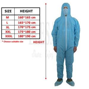 Image 2 - 1 шт одноразовый белый синий комбинезон защитный костюм для живописи украшения одежды Рабочая одежда L/XL/XXL