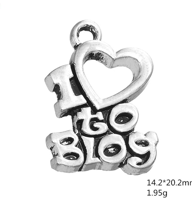 Ancient Silver I LOVE to Blog Heart Pendant Necklace Charms Jewelry Accessories For DIY Handmade Keychains,Bracelets Making image