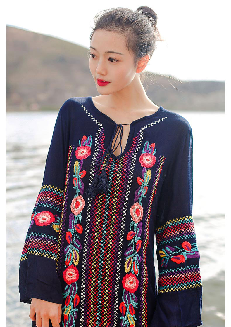 2017 m. Mados moterys suknelė bohemišką gėlių siuvinėjimo - Moteriški drabužiai - Nuotrauka 6