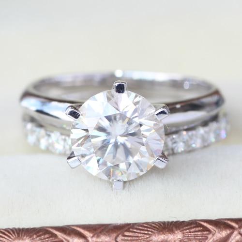 Queen Brilliance 3.45 Carat ct Engagement Wedding Moissanite Diamond Ring Set For Women Diamond Genuine14k 585 White Gold