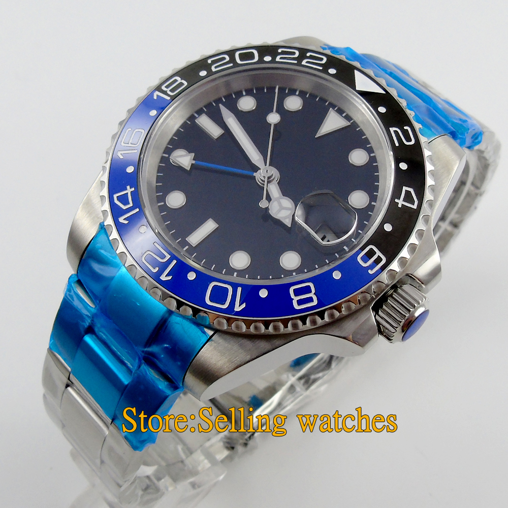 40mm parnis black dial GMT Ceramic Bezel sapphire glass automatic mens font b watch b font