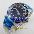 40mm parnis mostrador preto GMT Bezel Ceramic sapphire vidro automáticas mens watch