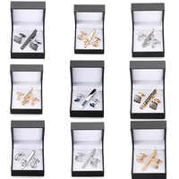 A set of high-grade tie clip carved exquisite Cufflinks anchor Sax crystal Cufflinks tie clip black square box set free shipping