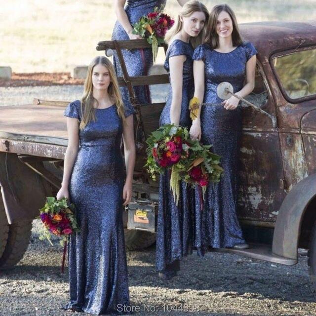 Navy Blue Sequin Bridesmaid Dress 2017 Brautjungfernkleid Sexy High Neck  Elegant Cap Sleeve Brides Maid Dresses 9962d867fd94