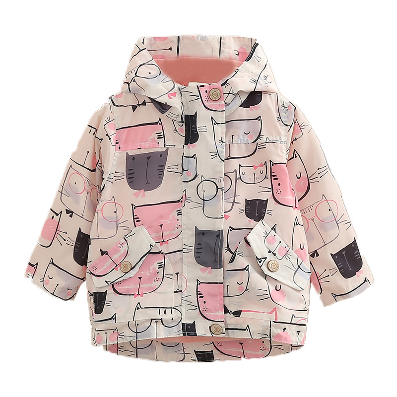 Child Girls Cartoon Cat Print Hooded Casual Jacket Spring Autumn Baby Girl Outerwear&Coats Children Clothes For GirlsChild Girls Cartoon Cat Print Hooded Casual Jacket Spring Autumn Baby Girl Outerwear&Coats Children Clothes For Girls