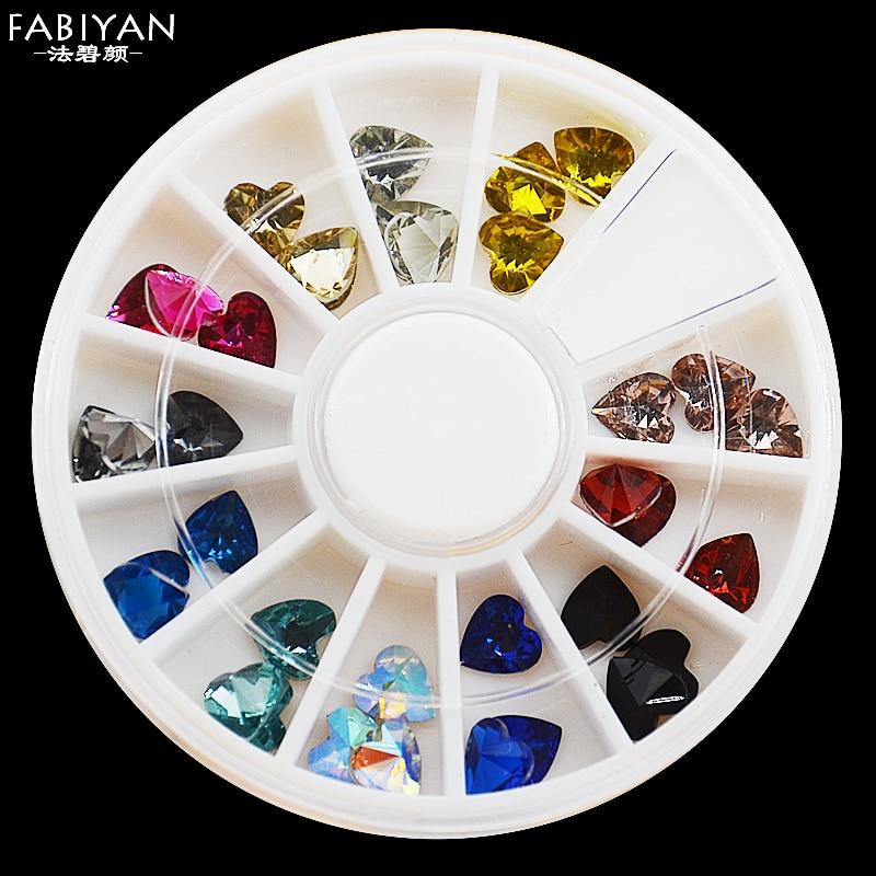 12 color 3d acrylic heart shape crystal rhinestone facet glitter gem nail art polish tips